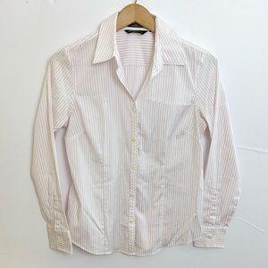 Eddie Bauer White Purple long Sleeve Shirt